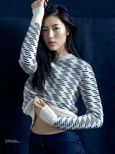 Liu Wen wears a comfy looking sweater for Femina China Magazine November 2015 issue Photoshoot