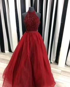Popular Burgundy Prom Dresses with Halter Neckline Beaded Long Prom Dress with Beadings 2017 Organza Evening Dresses