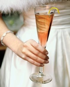 Kir Royale with a lemon twist.  Everything looks elegant in a champagne flute
