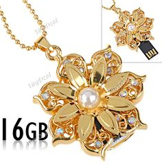 Golden Flower Style 16GB USB 2.0 USB Flash Drive U Disk Pen Stick with Neck Chain CUD-67127