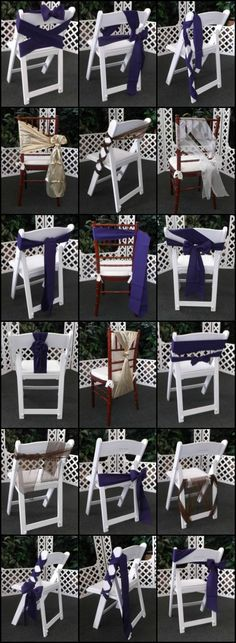 Creative ways to tie chair ties! Make your event decor one of kind with your own special twist to your chair sashes. Wedding Ceremony Chairs, Wedding Chair Decorations, Wedding Table, Diy Wedding, Trendy Wedding, Wedding Ties, Party Chairs, Chair Bows, Love Chair