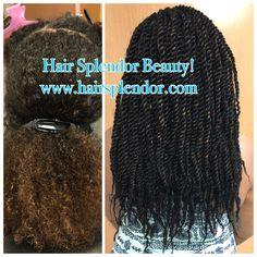 Kinky Twists! 7pks Jamaican Braid used. Visit us online for virgin hair options www.hairsplendor.com Online Beauty Supply Store, Before After Hair, Kinky Twists, Virgin Hair, Knitted Hats, Wigs, Braids, Hair Beauty, Hair Styles