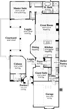 Home Plans HOMEPW09369 - 1,892 Square Feet, 3 Bedroom 3 Bathroom Mediterranean Home with 2 Garage Bays----cabana would be perfect inlaw house