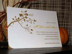 Fall Tree - Letterpress Wedding Invitations. So pretty!
