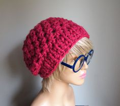 This hat is mad cute, so is the manikin.  Does anyone know what kind of stitches are these? I can see double crochet but what else?  The SweetFaith Slouchy Beanie Raspberry by SweetEdge on Etsy, $35.00