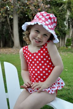 Flap Happy Cherry Punch Swimsuit and Ruffle hat!
