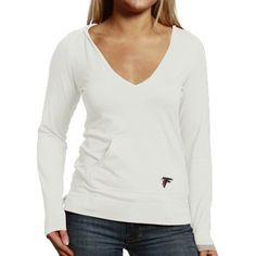 Women's Atlanta Falcons Antigua Black Social Hooded Long Sleeve T-Shirt