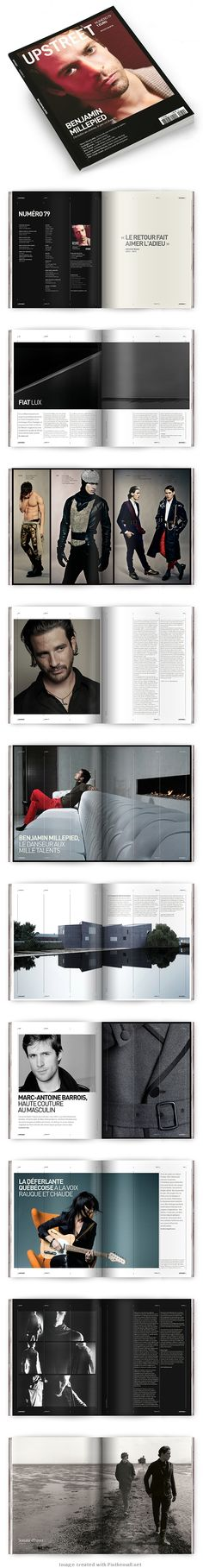 Upstreet Magazine   Re-design and layout of men's high end arts, culture and lifestyle magazine.  Source : http://www.behance.net/gallery/Upstreet-Magazine-Mens-Fashion-Arts-Culture/2358806