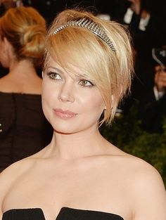 Michelle Williams at the 2013 Met Gala. Rocks her pixie cut with a studded headband. Loving the shine on her hair.