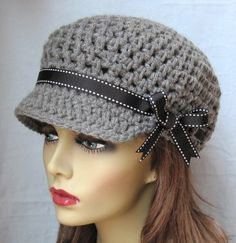 Crochet Newsboy Gray Teens Womens Hat Black by JadeExpressions, $32.00
