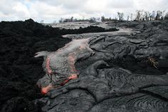 The lava has advanced another 100 yards since yesterday.