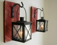 Lantern Pair Wall Decor with wrought iron hooks on recycled wood board for unique home decor, bedroom decor