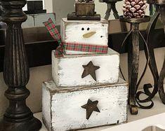 Bonhomme de neige en bois, grand bois bonhomme de neige, Noël bonhomme de neige décoration, décoration de cheminée de bonhomme de neige