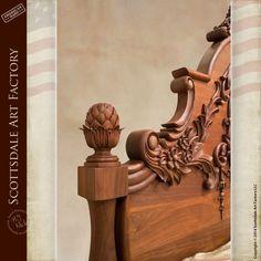 Walnut Bed Master Hand Carved Custom Design - FB1408