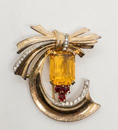 Vintage Crown Trifari Topaz Crystal Bow Dress Clip Brooch #Trifari Ruby Crystal, Gold Wash, Dress With Bow, Costume Jewelry, Topaz, Bows, Brooch, Sterling Silver, Crystals