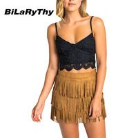 BiLaRyThy Sexy Women Ladies Short Bustier Cropped Tops Low Cut V Neck Spaghetti Strap Backless Lace Tops Camisole Black/White
