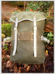 Vintage Norwegian Army rucksack - waxed canvas & leather