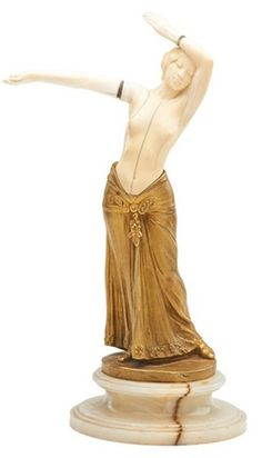 sculpture, France, A gilt bronze and ivory sculpture by Charles Arther Muller (French, born 1868), dancer on onyx base; Signed Ch. Muller, impressed 47.