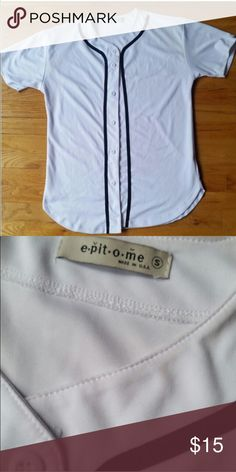 Baseball Jersey Baseball button up. Nice material and worn once! Great condition. Tops Button Down Shirts