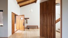 House for Grandparents is a minimal home located in San Miguel, California, designed by Dash Marshall Home Design, Interior Design, Stucco Walls, Modern Hallway, Aging In Place, Minimal Home, Home Upgrades, Types Of Doors, Mid Century House