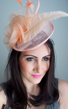 680e0cd991250 Peach Fascinator -