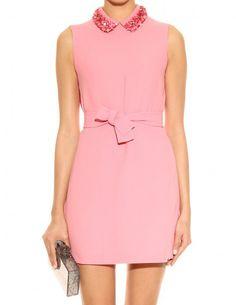 Pink Sleeveless Bead Embellished Collar Belt Dress