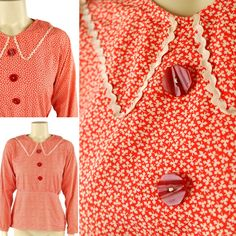 A lovely and cute original 1930s blouse with lovely Art Deco detailed buttons. Measurements : Small size Bust up to 36 Waist :up to 29   Lovely and wearable condition.