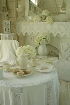This is one way to make the fireplace look shabby chic. White Cottage, Shabby Chic Cottage, Cozy Cottage, Shabby Chic Homes, Shabby Chic Style, Cottage Style, Cottage Ideas, Romantic Homes, Shades Of White
