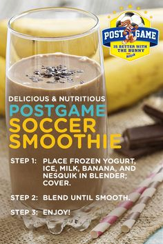 Create a delicious snack that will score high with your kids by making a post-game soccer smoothie. This nutritious and yummy post-game Soccer Smoothie is packed with nutrients that your kid needs after a day full of games. With an excellent source of cal Juice Smoothie, Smoothie Drinks, Fruit Smoothies, Healthy Smoothies, Healthy Drinks, Smoothie Recipes, Healthy Snacks, Yummy Snacks, Yummy Drinks