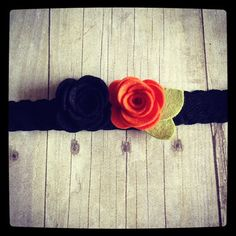 Halloween orange/black wool felt rose by dropofhoneybowtique
