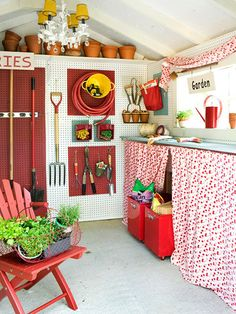 Lots of clever ideas for remaking a basic storage shed into a garden shed. I so want a chandelier in my shed. ;D