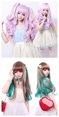 Curly Pigtails Sweet Lolita Wig, which color is your favorite? Purple or green? Get it for your 2015 Halloween outfits ideas.
