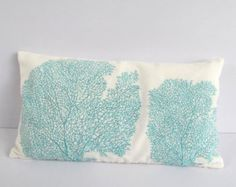aqua blue coral pillow 12X20 inch STOCK CLEARANCE 20% OFF- coastal sea nautical themed pillows 2 in stock