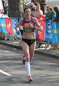 Jo Pavey, London Marathon 2011. Born in Honiton, Devon - Wikipedia entry.
