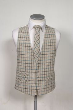 ivory with black & gold over check Harris tweed waistcoat with matching bow tie. Woven on Lewis stitched in England Harris Tweed Waistcoat, Cafe Apron, Suit Vest, Vest Men, Wedding Attire, Wedding Inspiration, Menswear, Turquoise, Suits