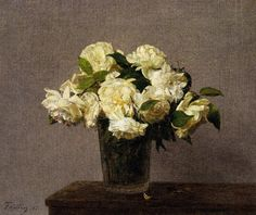 1885 White Roses in a Vase oil on canvas Private Collection