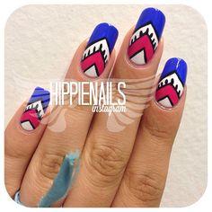 Instagram photo by hippienails  #nail #nails #nailart  shark week?