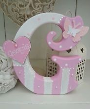 Handmade girls freestanding wooden letter/name shabby chic in Home, Furniture & DIY, Home Decor, Plaques & Signs Wood Letters Decorated, Painted Wood Letters, Framed Letters, Nursery Letters, Diy Letters, Decorative Wooden Letters, Handmade Home Decor, Handmade Furniture, Alphabet Letter Crafts