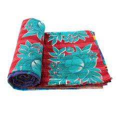 Vintage Kantha Quilt Indian Bedspread Handmade Cotton by Indianhut
