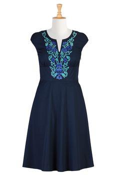 Floral Embellished Poplin Dresses, Deep Blue Bridesmaids Dresses Women's Designer Dresses - Prom Dress, Homecoming Dress, Party Dress - Shop womens Full sleeve dresses   eShakti