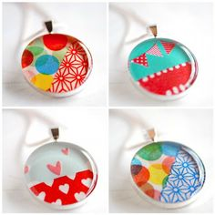 Aren't these pendants the coolest? They have #washitape encased inside.