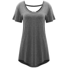 Meaneor Women's Comfy Loose Fit Long Tunic Top With Various Hem Gray... ($14) ❤ liked on Polyvore featuring tops, tunics, loose fit tops, gray tunic, long tunics, grey top and loose tunic
