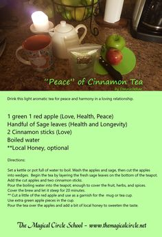 Cinnamon Apple Tea - Kitchen Witch - Peace Spell - Love Spell - by DannielleRae - The Magical Circle School www. Herbal Remedies, Natural Remedies, Wicca Recipes, Herbal Magic, Magic Herbs, Tea Reading, Cinnamon Tea, Apple Tea, Under Your Spell