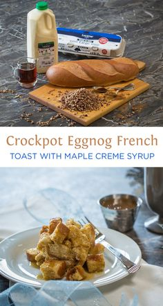 Crockpot Eggnog French Toast - DELICIOUS french toast with the creamy flavor of Eggnog! Using a crock pot keeps it easy & ready in the morning for company.