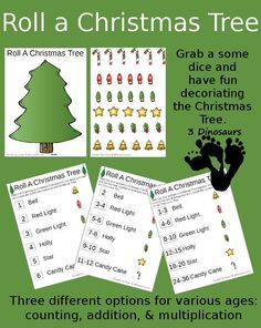 Free Roll a Christmas Tree - with counting, addition and multiplication - 3Dinosaurs.com