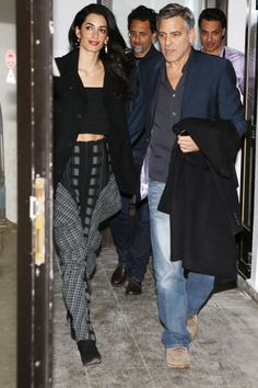 What: A black crop top paired with printed pants and black booties When: February 9, 2016 Where: Out for a pre-Valentine's Day dinner with George Clooney in Berlin