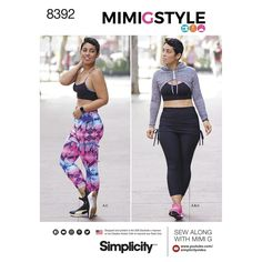 Mimi G Style keeps us looking chic while at the gym or running errands. This knit sport separates pattern features a sports bra, mini hoodie and cropped leggings with attached skirt.