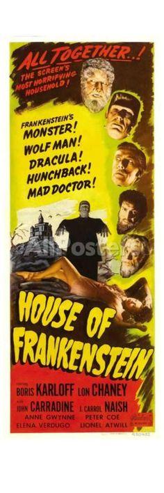 House of Frankenstein, 1944 Movies Art Print - 20 x 61 cm
