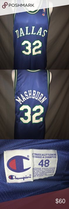 Vintage Dallas Mavericks Jamal Mashburn Jersey Vintage Blue Champion Dallas Mavericks Jamal Mashburn Size 48 Basketball Jersey. Jersey has been gently worn and is in excellent condition. Champion Shirts Tank Tops