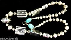HUGE-STAMPED-BEADS-OLD-TOMMY-SINGER-NECKLACE-STERLING-OVERLAY-DRUMS-TURQUOISE